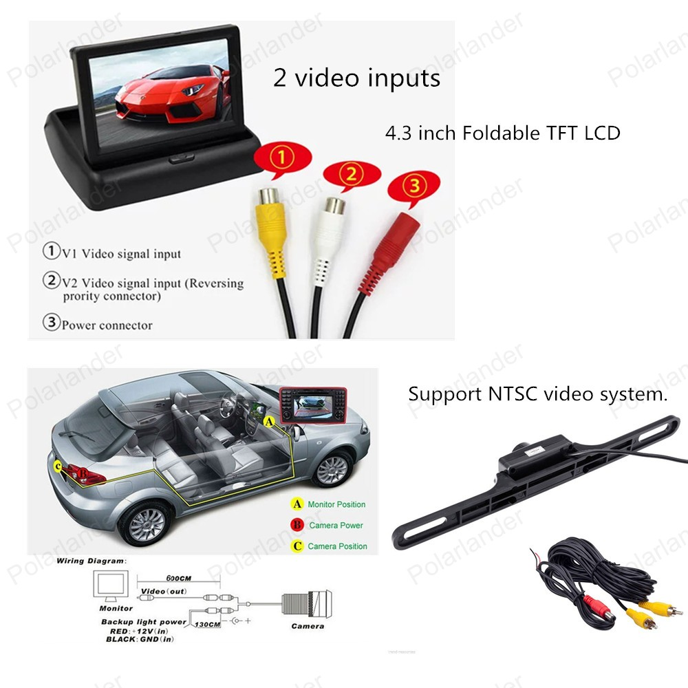 4.3 inch Foldable TFT LCD Monitor 2 VA Video Input 480*234 resolution Rear View CCD Camera Reverse Backup Color camera