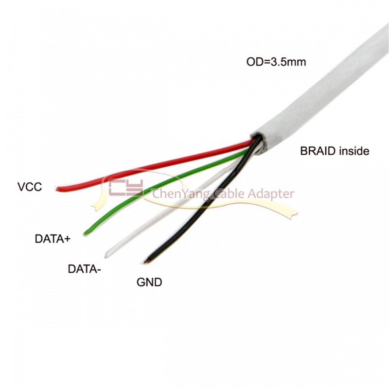 Computer Cables 10pcs//Bag USB 2.0 A Type Male to 4 Wires Open Cable with Braid Shield for DIY OEM White 70c Cable Length: 70cm, Color: White