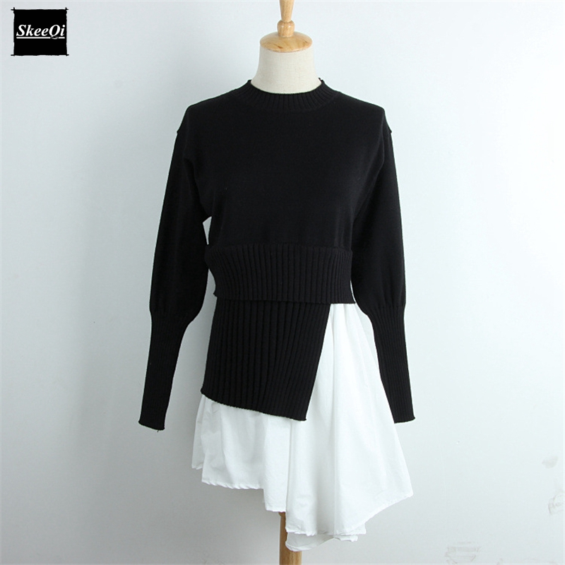 2018 Spring New Fashion Sweater Female Pullovers Fake Two Pieces Black Knitted Sweaters Pullover Runway Designer Tops Jumper