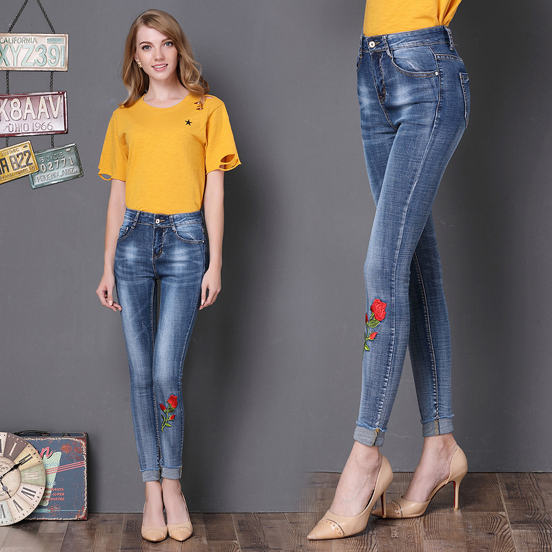 2017 Autumn new arrival women's fashion jeans embroidery rose high waist denim trousers pencil jeans sexy skinny jeans 190 hot sale new arrival men cutout jeans fashion embroidery pencil trousers