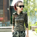 Women Camouflage Polo Shirt Long Sleeve 2017 New Fashion Cotton Camo Army Shirt For Women Free Shipping