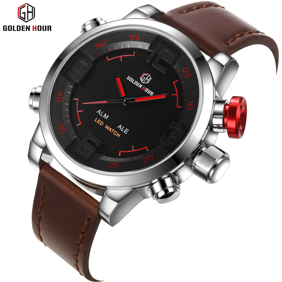 GOLDENHOUR Top Luxury Brand Quartz Watches Men LED Clock Fashion Leather Waterproof Sport Watch Military Style Relogio Masculino skmei 6911 womens automatic watch women fashion leather clock top quality famous china brand waterproof luxury military vintage
