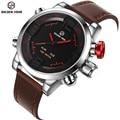 Top Marca De Luxo Relógios Homens LED Digital Relógio de Moda Relógio de Quartzo de Couro À Prova D' Água Esportes Relógio Estilo Militar Relogio masculino