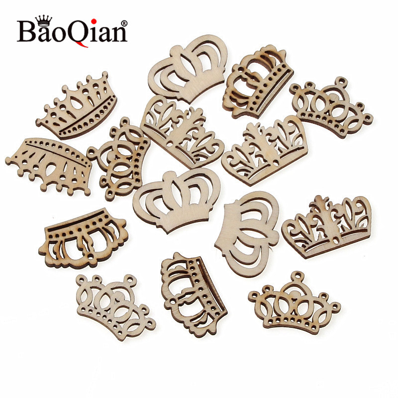 50Pcs/Bag Crown Wood Mixed Wood Crown Handicraf Embellishments MDF Unfinished Wood Scrapbooking For Craft Decoration Diy 32mm