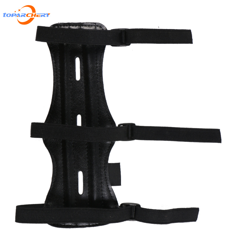 Archery Leather Arm Guard Length 8.66 Protection Forearm Safe 3-Strap for Bow Outdoor Hunting Shooting Training Accessories