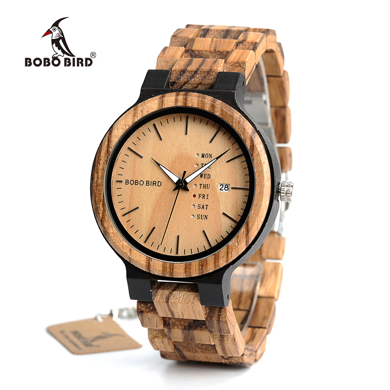 BOBO BIRD Antique Mens Zebra and Ebony Wood Watches with Date and Week Display Business Watch in Wooden Gift Box ben and bobo
