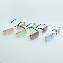 Retro Sunglasses Men Women Decoration Fashion Carter Sunglass Small Square Rimless Frame Classic Color Metal
