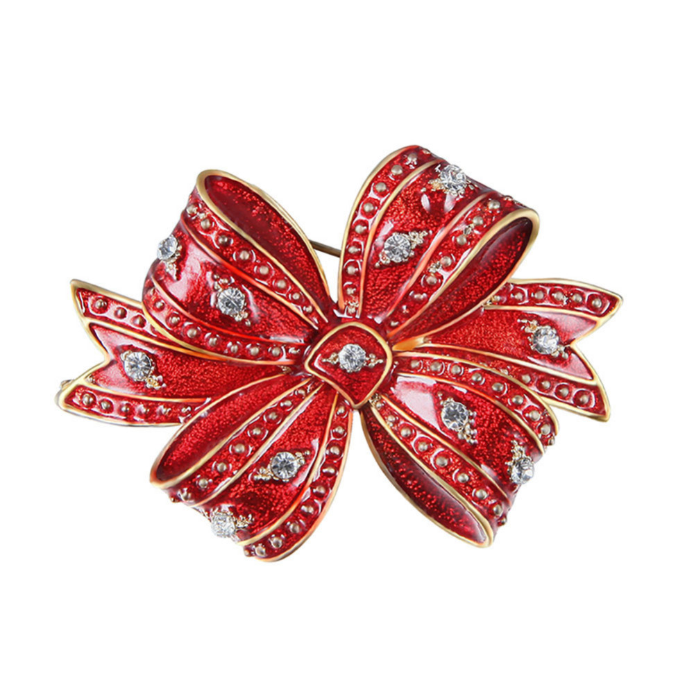 Xmas Party Jewelry Decorative Christmas Stocking Double Bowknot Women Brooch Pin Hijab Scarf Broches Coat Sweater Clips