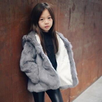 Лидер продаж, пальто с натуральным кроличьим мехом, куртка для мамы и дочки, зимние пальто, модная детская одежда, одежда с капюшоном для дев...