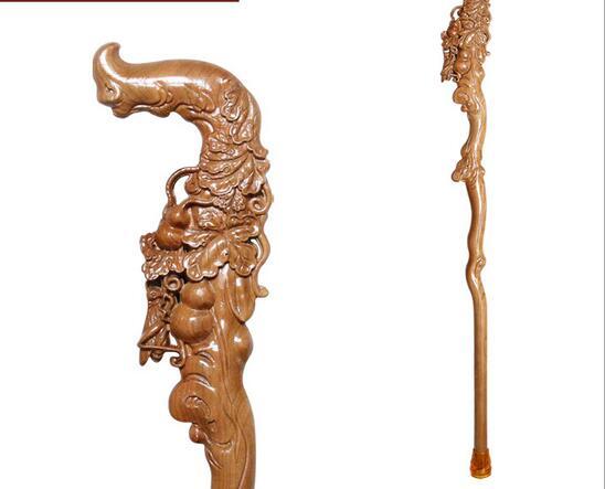 Piété filiale personnes âgées palissandre sculpté manuel en bois Dragon bois naturel leader Phoenix cadeau d'anniversaire canne - 3