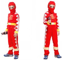 Freepp 2016 Child Red Silver Mirror Ninja Outfit Fancy Dress Costume Halloween Samurai Kids Boys Halloween