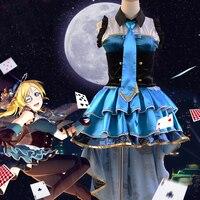 LoveLive Job Awaken Kaitou Version Ayase Eli Cosplay Costume Halloween Uniform Party Dress Top Skirt Gloves