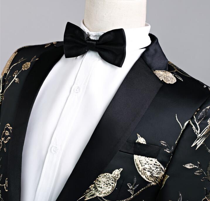 Певица Стиль Танцевальная сцена Одежда для мужчин шаблон костюм комплект со штанами мужские свадебные костюмы костюм жениха формальное платье галстук черный - 2