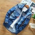 2016 Европейский Стиль Ковбоя Мужчины весна повседневная Марка Хлопка с длинным рукавом Джинсовые рубашки человек blue jean рубашка/мужская ковбой Рубашки