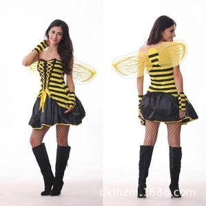 Sexy Frauen Yellow Erwachsenes Cartoon Kleid Trägerlosen Cosplay Kleidung Mit Flügeln Und Handschuhe Spitze Infront Disfraz Adulto Sexy 2016 WL18