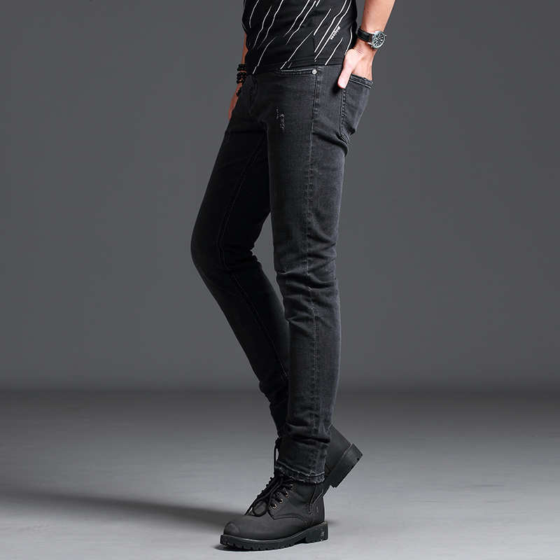2018 New Mens Jeans Skinny Grey Dark Mens Jeans Fashion Smart Business Casual Wear Boutique Jeans High Quality Elasticity Comf