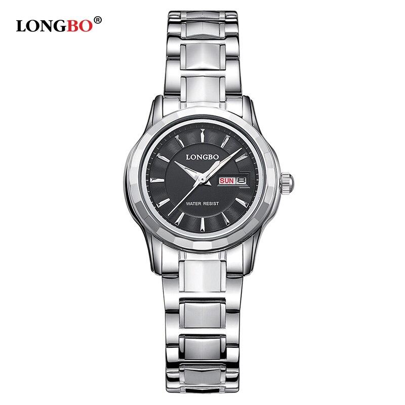 Relógios de Luxo Duplo à Prova Relógio de Pulso Dia dos Homens Longbo Amantes Casal Data Água Mulheres Ouro Aço Inoxidável Quartz Montre Homme d'