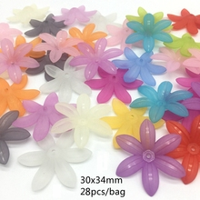 купить Meideheng Mix Plastic Acrylic Translucent Dull Polish gerbera Beads Fit Jewelry Handmade DIY Craft Accessories 30*34mm 30PCS/bag дешево