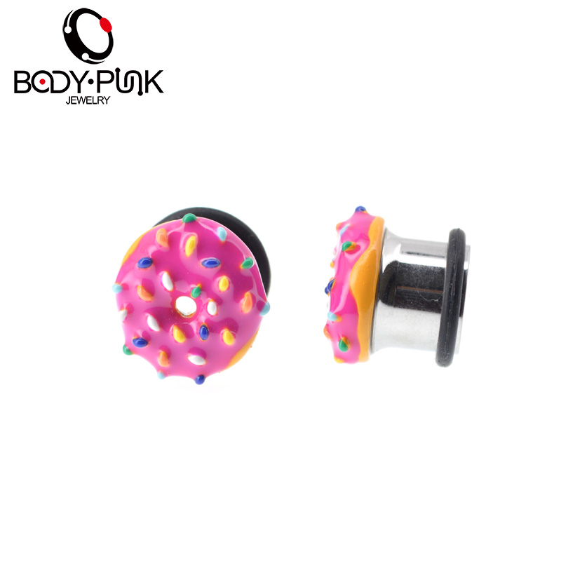 KÖRPER PUNK Sweet Pink Donut Single Flare Plugs Sommer Flesh Tunnel - Modeschmuck - Foto 6