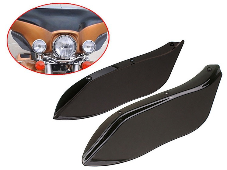 Side wings Windshield Air Deflectors For Harley Touring Street Glide FLHR FLHT 96-07  pair air deflector windshield side wings dark tint smoke for harley electra glide road king	street glide motorcycle