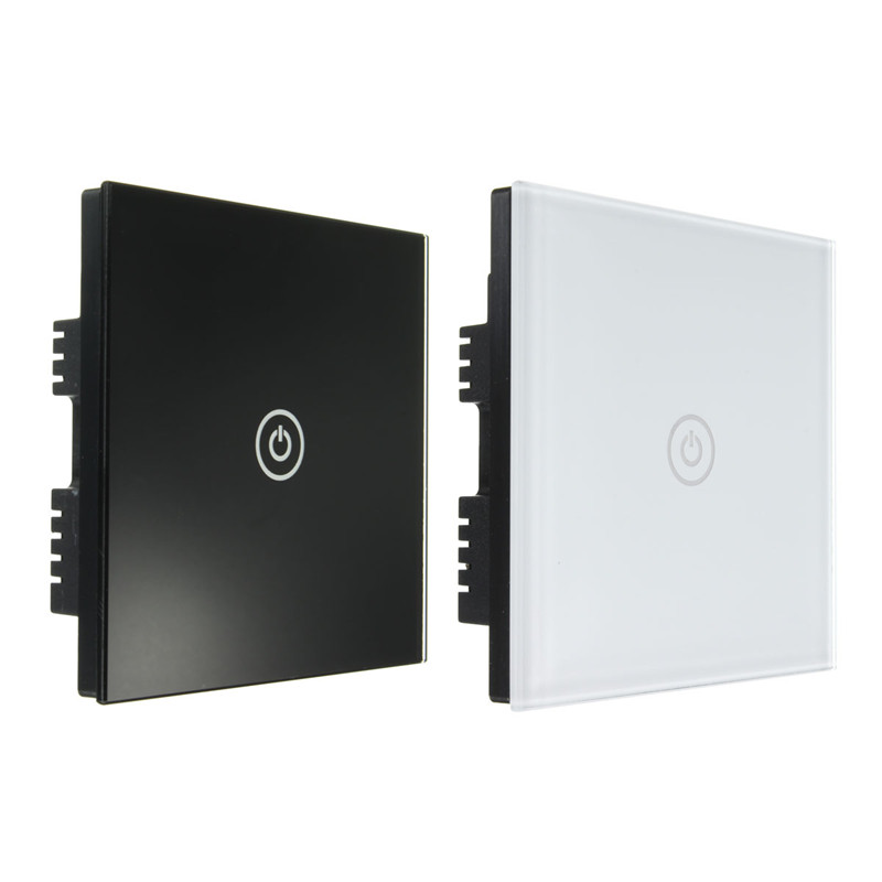 1 Way 1 Gang Crystal Glass Panel Smart Touch Light Wall Switch Remote Controller White/Black 160-250V AC Best Price newest 1 way 1 gang crystal glass panel smart touch light wall switch remote controller gold ac110v 240v low price