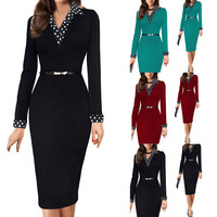 vestidos mujer 2018 Women fashion black slim Working Long Sleeve Sashes Office Party Pencil Casual office lady formal Dresses