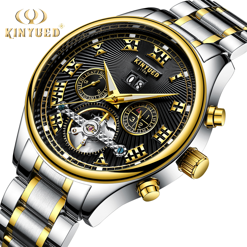 KINYUED Mechanische Männer Uhren Marke Luxus Geschäfts Automatische Selbst Wind Uhr Fliegende Tourbillon Männlich Stunden reloj hombre 2019-in Mechanische Uhren aus Uhren bei  Gruppe 1