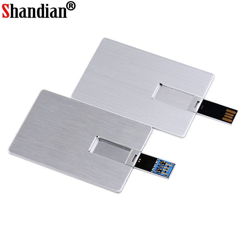 SHANDIAN Usb 2.0 Flash Drive 4GB 8GB 16GB 32GB 64GB Metal Card Pendrive Business Gift Usb Stick Credit Card Pen Drive