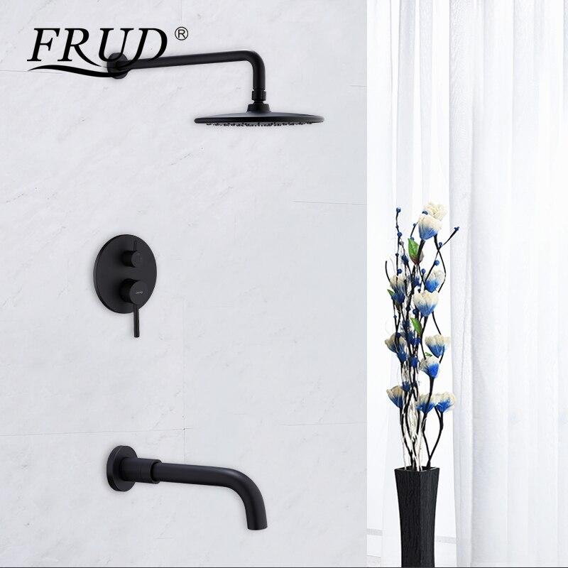FRUD douche robinet pluie douche ensembles de luxe salle de bain douche mélangeur noir cascade robinets de bain caché douche ensemble