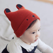 Neue Herbst baby jungen und mädchen stricken hut winter baby warm bär cartoon cap kinder wolle hut kappe beanies kinder weihnachten geschenk caps(China)