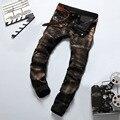 Patchwork Vintage Bronze Paint Printed Ripped Rider Jeans Pants,2016 New Designer Jeans Men,Best Quality Brand Slim Men's Jeans