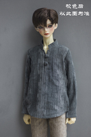 BJD doll clothes are suitable for 1/3 1/4 MSD DD grey and blue stripes in the republic of China vintage hemp shirt with stand up