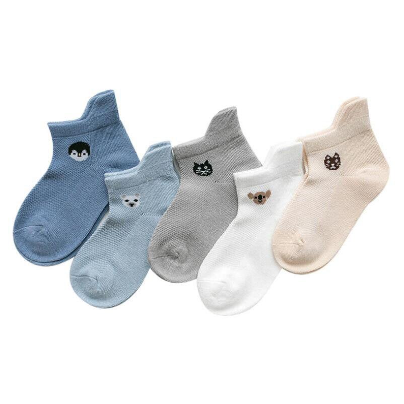 5 Pairs/lot Baby Socks Summer Mesh Breathable Cotton Infant Socks Children Kids Boys Girls Short Sock 0-8 Years 4