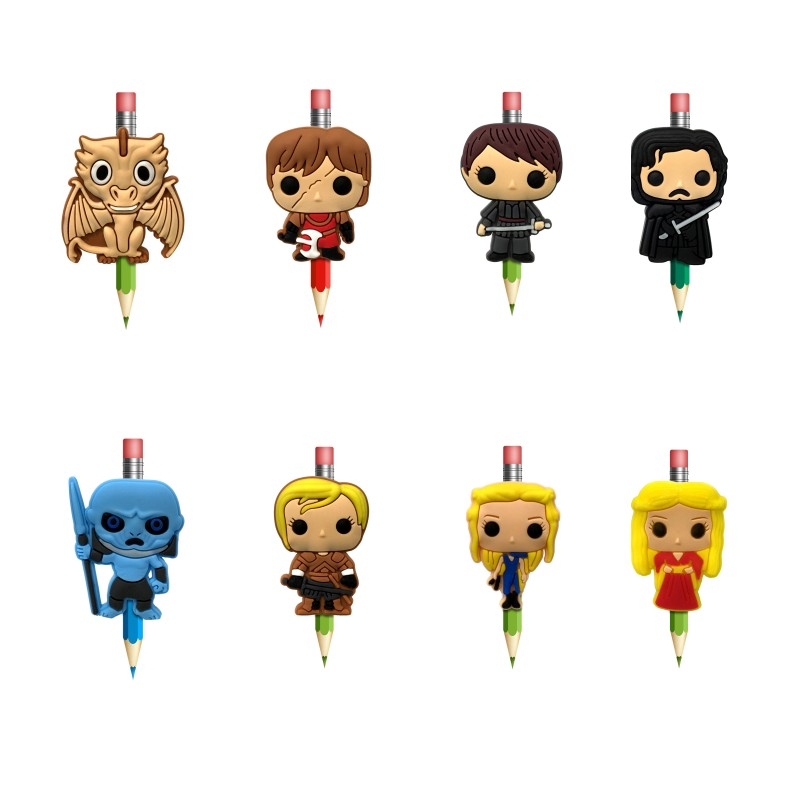 1Pcs Cartoon Figures Pens Topper Straw Charm Game Of Thrones Pencil Holder School Supplies Pencil Grip Kids Gifts