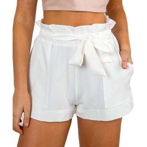 Женские сексуальные гофрированные шорты с оборками с высокой талией женские вечерние мини шорты пляжные однотонные шорты с бантом брюки