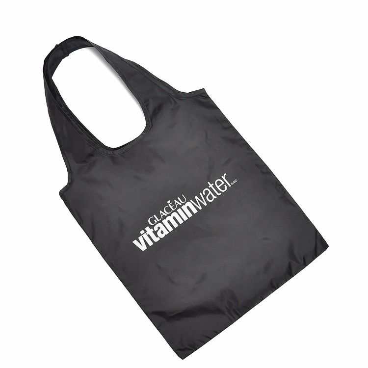 Custom Reusable Bags Nylon Black Grocery Totes Promotional Shopping Bags 15