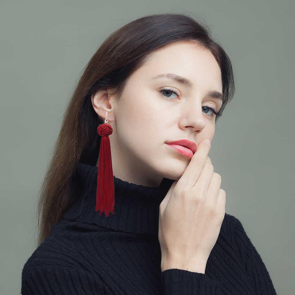 Qtian แฟชั่น Vintage โบฮีเมียพู่ Drop ต่างหูสำหรับผู้หญิง Handmade สาน Drop ต่างหูแฟชั่นต่างหูพู่ยาว