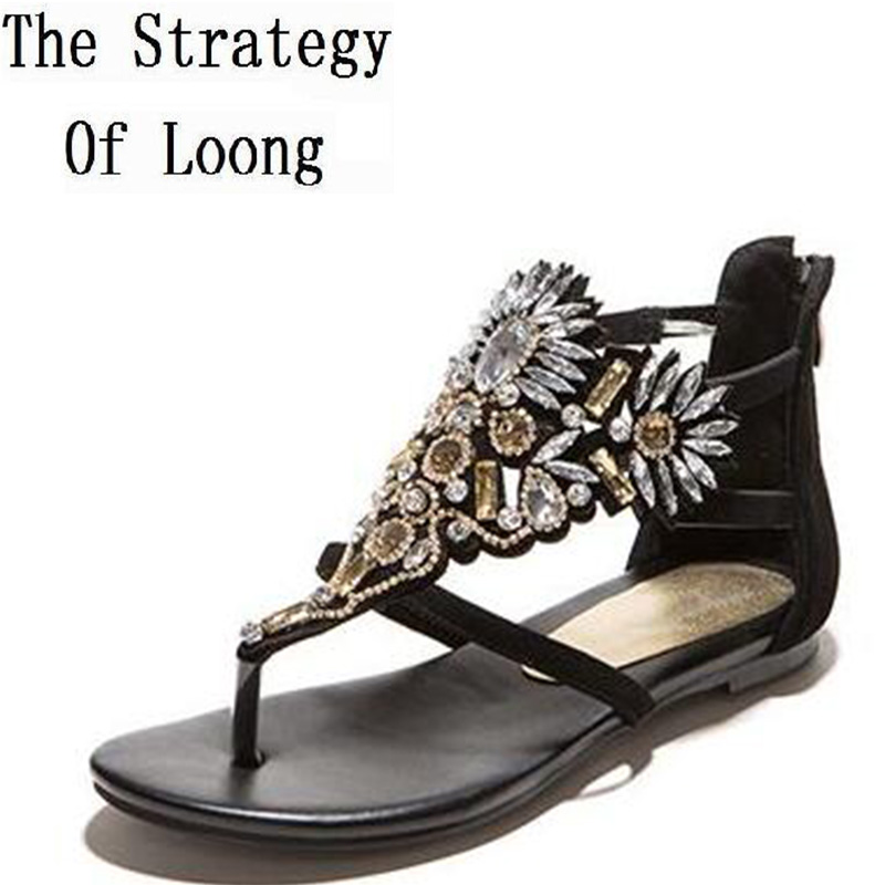 Crystal Genuine Leather Flat Flip Flops Ankle Wrap Lady Sexy Rhinestone Sandals 2017 New Fashion Summer Sandal Shoes SXQ0605 new fashion silver tone chain trim flat sandals flat heel black white metal leather ankle sandals for women free shipping