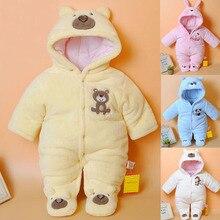 Macacão infantil de desenho animado, roupas de inverno para bebês recém nascidos, macacão grosso de algodão para meninas e meninos