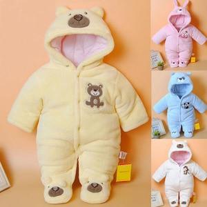 Image 1 - 신생아 아기 Rompers 만화 후드 겨울 아기 의류 두꺼운 면화 아기 소녀 의상 아기 소년 점프 슈트 유아 의류