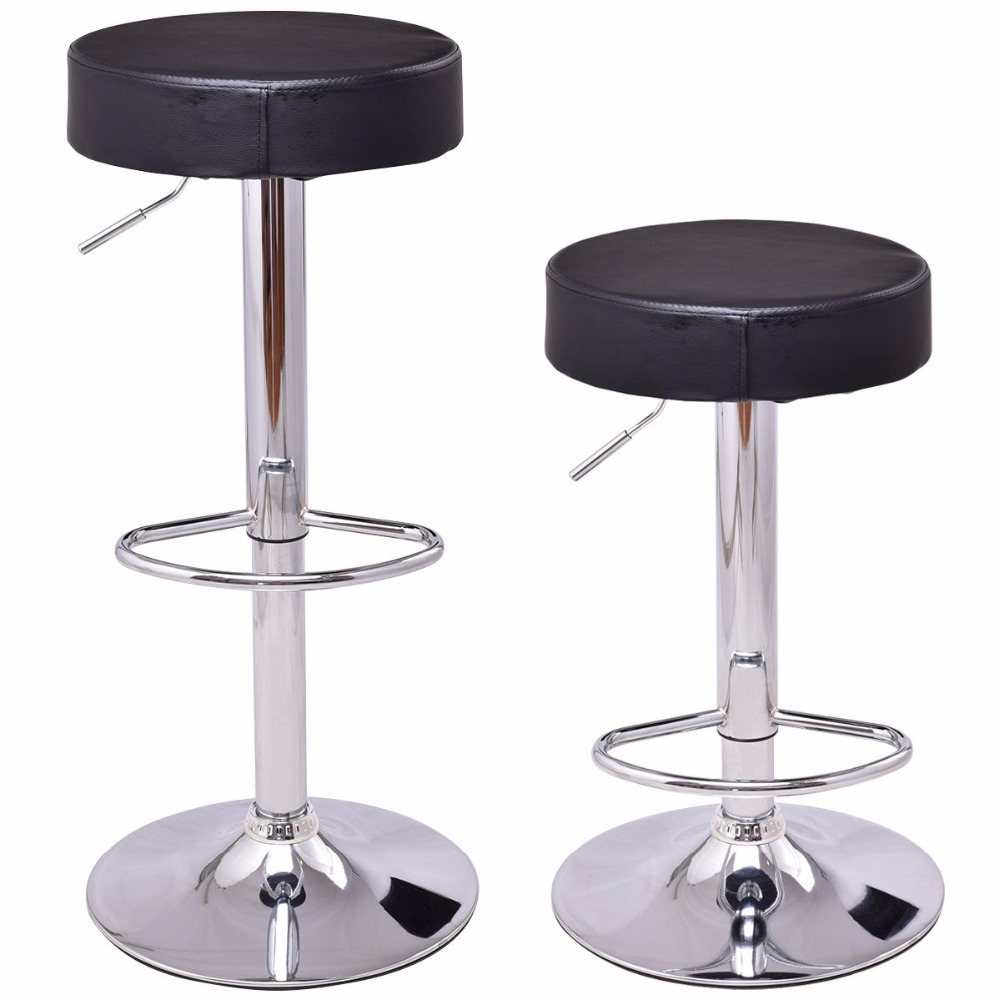 Фотография Goplus Set of 2 Round Leather Bart Stools Modern Seat Chrome Leg Adjustable Hydraulic Swivel Bar Stool Black White HW55666