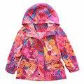 2017 primavera nueva marca de moda las niñas chaqueta con capucha niños abrigos trench estampado de camuflaje impermeable niñas prendas de vestir exteriores 3-10Y
