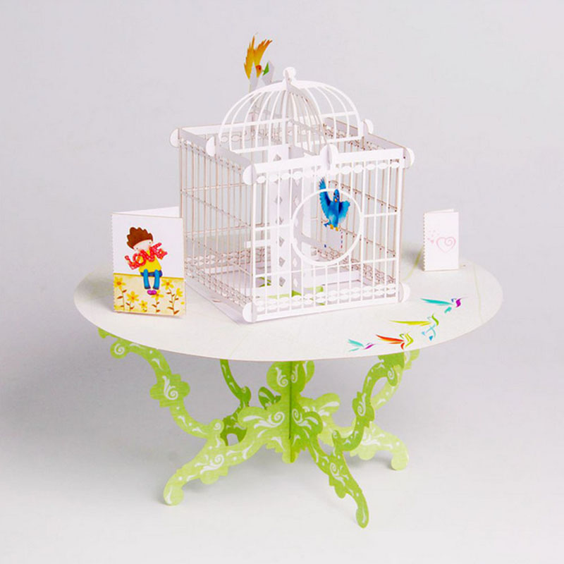 3d pop up birdcage greeting card table cage birthday for Table 6 gift card