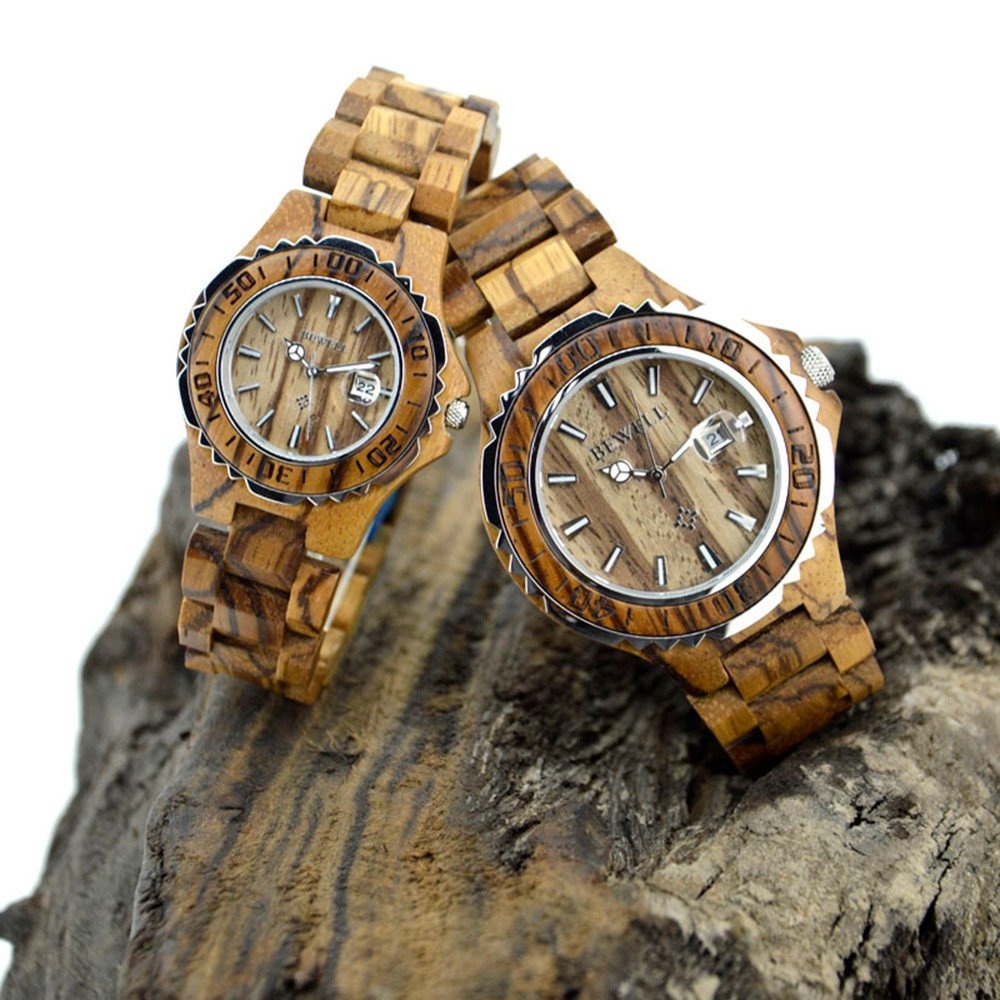 BEWELL Couple Watches Valentines Gift Wooden Luminous-Hands Waterproof Lover's with Strap