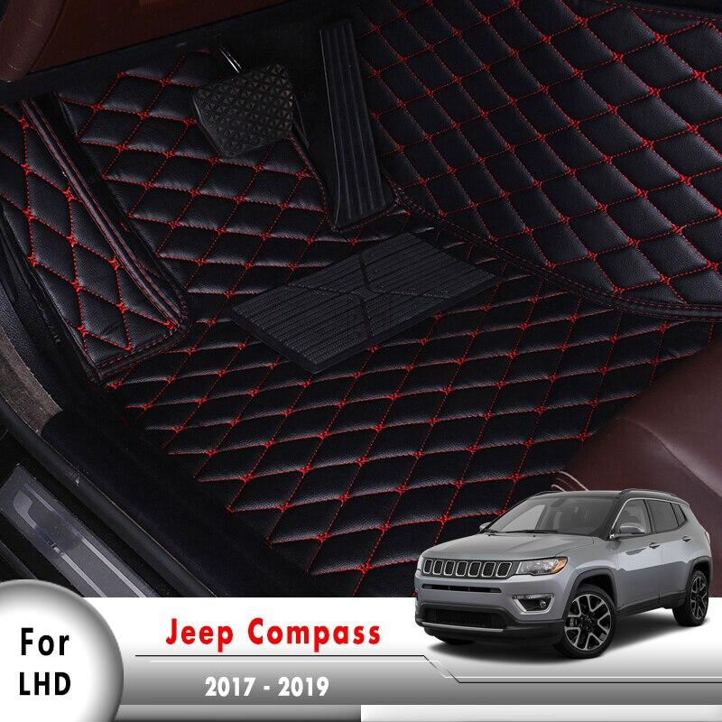 Tapis en cuir artificiel Surround Auto accessoires d'intérieur tapis LHD tapis de sol de voiture pour Jeep boussole 2017 2018 2019
