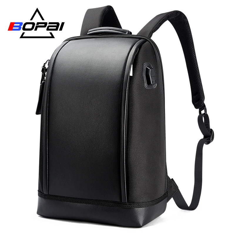 BOPAI USB External Charge Anti theft Laptop Backpack Travel Large Capacity 15.6 inch Laptop Bag Leather Waterproof Backpack Men bopai laptop backpack with usb external charging port for 15 6 inch laptop men anti theft waterproof large capacity travel bag