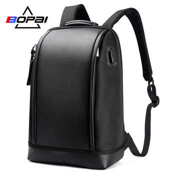 BOPAI USB External Charge Anti theft Laptop Backpack Travel Large Capacity 15.6 inch Laptop Bag Leather Waterproof Backpack Men - Category 🛒 Luggage & Bags