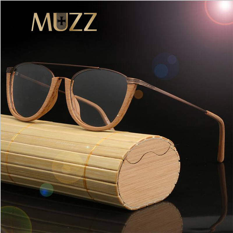MUZZ Glasses Frame Wood Optical Glasses For Unisex Wooden Temple Frame Semi Rimless Eyeglasses Acetate Frames Men Spectacles