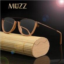 Muzzメガネフレーム木製用光学ガラス木製寺院フレーム半リムレス眼鏡アセテートフレーム男性眼鏡