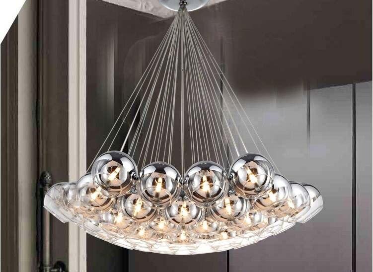 Modern glass pendant lamp creative chrome ball pendant light living room glass pendant lamps crystal bubble pendant light in pendant lights from lights